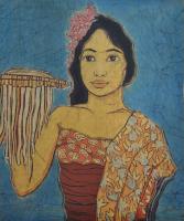 Lot 16-Khalil-Ibrahim-'Portrait-of-a-Balinese-Girl'-(1970)-Batik-55cm-x-46cm