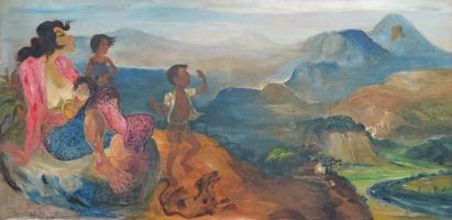 Lot 28-Hendra-Gunawan-'Main-Layangan'-1961-Oil-on-canvas-100-x-202cm