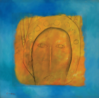 Lot 68-Khoo-Sui-Hoe,-Face-in-Gold,-1996,-Oil-on-canvas,-90-x-90-cm