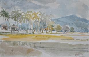 Lot 74-Khalil-Ibrahim-'East-Coast-Landscape'-(2011)-Watercolour-on-Paper-30cm-X-19.5cm-RM-5,800