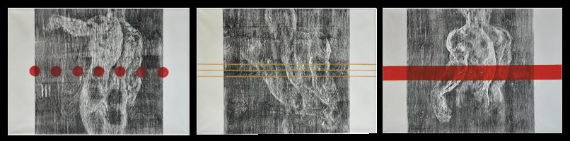 MOHD RADUAN MAN Scentia, Man & Nature Series I, II, II, 2006 Mixed media on canvas 90.5 x 130 x 3 pieces