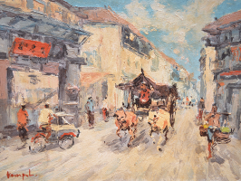 Lot 23-Sujatno-Koempoel-'Ox-cart-in-Chinatown'-Oil-on-.pngcanvas-40-x-50cm