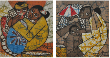 Lot 31-Kwan-Chin-Couple-in-Love-&-A-Farming-I-Brown-Series,-2011-Batik-29-x-29-cm-x-2-pieces