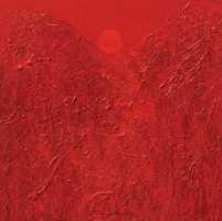 Lot 4-ISMAIL-ABDUL-LATIFF-MYSTIC-RED-MOUNTAIN.-65.CM.H.-X-65.CM.W.-ACRYLIC-&-MIXED-MEDIA-ON-CANVAS.-2006.-ISMAIL-LATIFF.-MALAYSIA.