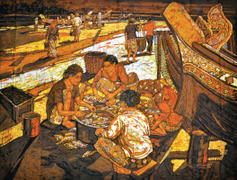 Lot 45-Ismail-Mat-Hussin-'Pantai-Sabak-Fishing-Villlage'-(2011)-Batik-118cm-X-143cmRM-18,000
