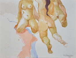 Lot 83-Khalil-Ibrahim-'Nude-Series'-(1984)-Watercolour-on-Paper-26cm-X-35cm