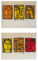 Lot 93-Lee-Long-Looi-Talk-Not-Series---Awake-Asleep-&-Talk-Not-Series---Three-Faces,-1999-Watercolour-on-paper-57-x-81-cm