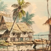 Kampung Scene, Undated RM 2,240.00-SOLD | Watercolour on paper | 35.5 x 26.5 cm