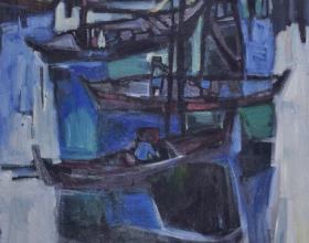 10-Fishing Village, 1978 Oil on Canvas I 60cm x 88 cm 1978 Oil on Canvas
