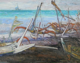 2-Bali Boats, 2002 60cm x 81cm 2002 Oil on Canvas