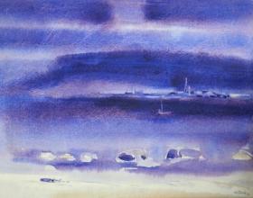25-Purple World, 1985 58cm x 73cm 1985 Watercolour on Canvas