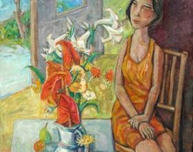 27-She Likes Flowers, 2010 91cm x 91cm 2010 Oil on Canvas