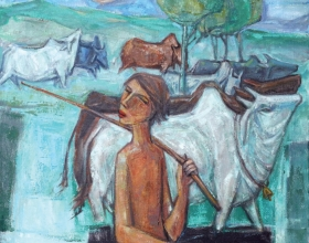 33-Village Life, 2011 90cm x 90cm 2011 Oil on Canvas