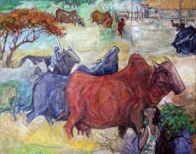 34-Village Life, 2011 116cm x 140cm 2011 Oil on Canvas