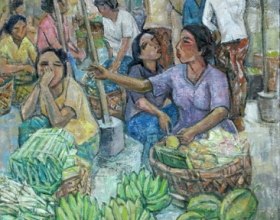8-Busy Market, 2006 123cm x 93cm 2006 Oil on Canvas