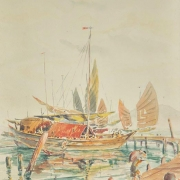 3-Penang Harbour with Junks and Sampan, Undated RM 19,800.00-SOLD | Watercolour on paper | 36 x 26.5 cm