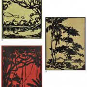 4-(A)Untitled, 1937 (B)Pkok Beringin, 1936 (C)Untitled, 1937 RM 13,440.00-SOLD | Linocut | 17.5 x 12.5 cm