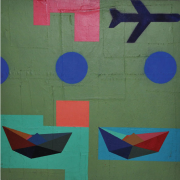 1-Paperboats and Planes Series, 2002 RM 6,600.00-SOLD | Mixed media on canvas | 60 x 60 cm