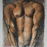 3-Male Torso in Brown, 1999 RM 15,400.00-SOLD   Mixed media on paper   57 x 44 cm