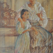 3-Mother & Child I, 2000 RM 3,8550.00-SOLD | Acrylic on banana stark | 56.5 x 46.5 cm