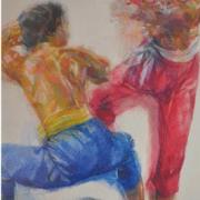 2-Pertarungan,-2010-RM-33,000.00-SOLD-_-Oil-pastel-on-paper-_-73-x-53-cm