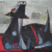 1-Cow : Dog, 1978 RM 22,000.00-SOLD | Oil on canvas | 23 x 88 cm