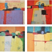 2-On Top 7, Celebration of Red, Pieces of Land & Timeless, 2005 RM 6,050.00-SOLD | Mixed media on canvas | 60 x 60 cm x 4 pieces