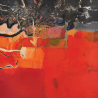 41-Tajuddin-Ismail,-Red-Earth-Synergy,-2006,-Acrylic-on-canvas,-173-x-173cm,-Signed,-title-and-dated-on-verso.