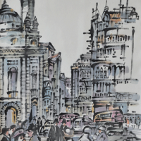 24-Tan-Choon-Ghee,-Paris-1981,-Chinese-ink-and-watercolour-on-paper,-67-x-45cm