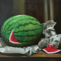 35-A.-Latif.-M,-1997,-Oil-on-canvas,-52-x-53cm