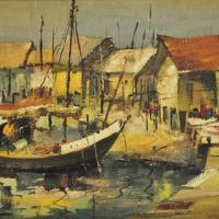 72-Long-Thien-Shih,-Fishing-Huts,-2003,-Oil-on-canvas,-32.5-x-52cm