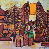 74-Tay-Mo-Leong,-The-Main-Gate,-1974,-Batik,-61-x-91cm