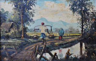 10-Khalil-Ibrahim-_Sawah-Padi-Series_-(1957)-30cm-x-45.5cm-Oil-on-Board-RM-150,000