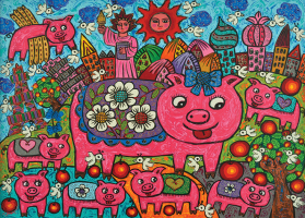 13-Erica,-The-Pigs-Around-the-World,-Acrylic-on-canvas,-79-x-109cm