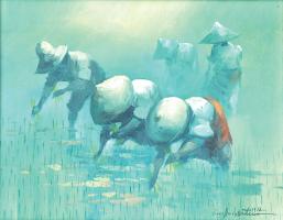 40-Cesar-Buenaventura-_Paddy-farmers_-(B.-Php-1919-1983)-(1972)-35.5cm-x-45cm--Oil-on-Canvas