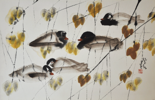 45-Yang-Zhengxin-Ducks,-Undated-Ink-and-colour-on-paper--43-x-66,-ink-&-watercolour-on-paper