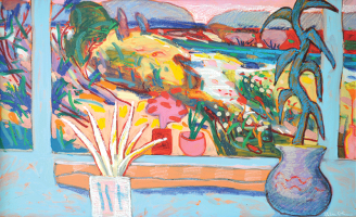 7-Rafiee-Ghani-The-Blue-Garden,-1997-Oil-on-canvas-90-x-149-cm