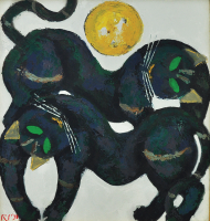 54-Popo-Iskandar,-Oil-on-canvas,-73-x-68cm