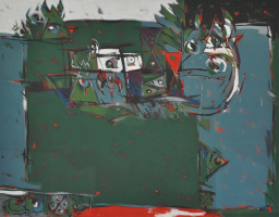 Awang-Damit-Ahmad-EOC-Series-Ting-Ting-Elegi-Anak-Kecil-(1987)-Mixed-Media-on-Canvas-115cm-x-145cm-Setia