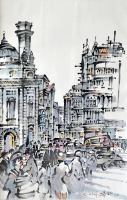 Tan-Choon-Ghee,-Paris-1981,-Chinese-ink-and-watercolour-on-paper,-67-x-45cm