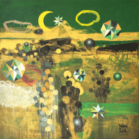 Zulkifli-Talha-Green-And-Gold-Khatulistiwa-Acrylic-on-canvas-100-x-100-cm