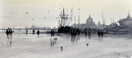 26-Nik-Rafin-M-'Harbour-Scene'-(1999)-Watercolour-on-Paper-9cm-x-20.5cm-RM-320---450-