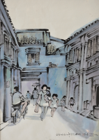 16-Tan-Choon-Ghee-'Cannon-Street,-Penang'-(1978)Chinese-ink-and-watercolour-on-paper,-67.5-x-44cm-RM-7,500---8,500