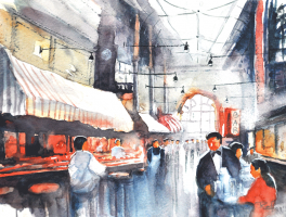 25-Nik-Rafin-M-'Foodmarket-in-Central-Melbourne'-(1999)-Watercolour-on-Paper-16cm-x-21cm-RM-250---300-