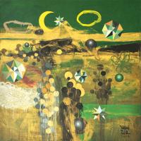 11-Zulkifli-Talha-Green-And-Gold-Khatulistiwa-Acrylic-on-canvas-100-x-100-cm