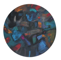 35-Tajuddin-Ismail-Blue-Moon-II,-2007-Mixed-media-on-wood-panel-120-cm-(Diameter)