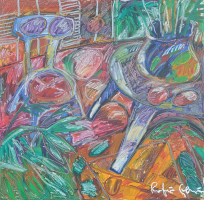 5-Rafiee-Ghani,-Blue-Chair-and-blue-table,-1995,-137-x-130cm,-Oil-on-Canvas