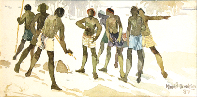 81-Khalil-Ibrahim-'East-Coast-Fishermen-Series'-(1987)-Watercolour-on-paper-14.5cm-x-40cm-RM-3,000---4,500