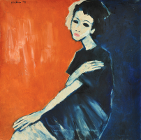 83-Jeihan-Sukmantoro-'Miryam'-(1997)-Oil-on-Canvas-70cmx70cm