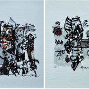 15-E. O. C Series II & III, 1993 RM 7,150.00-SOLD | Mixed media on canvas| 19 x 28 cm x 2 pieces